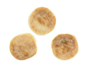 Top view of a freshly baked English muffins